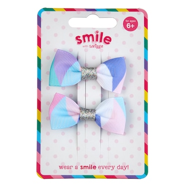 Smile Bows Hair Clips Pack X2